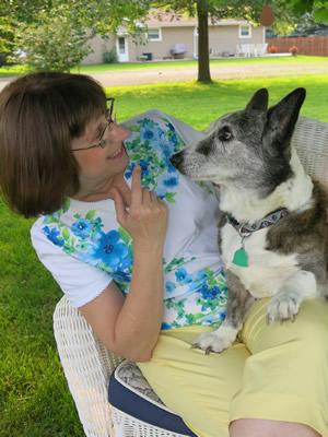 Karen and her favorite Corgi