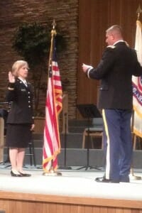 My daughter repeating the Army oath.