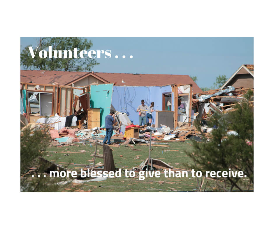 Volunteers - It's more blessed to give than to receive.