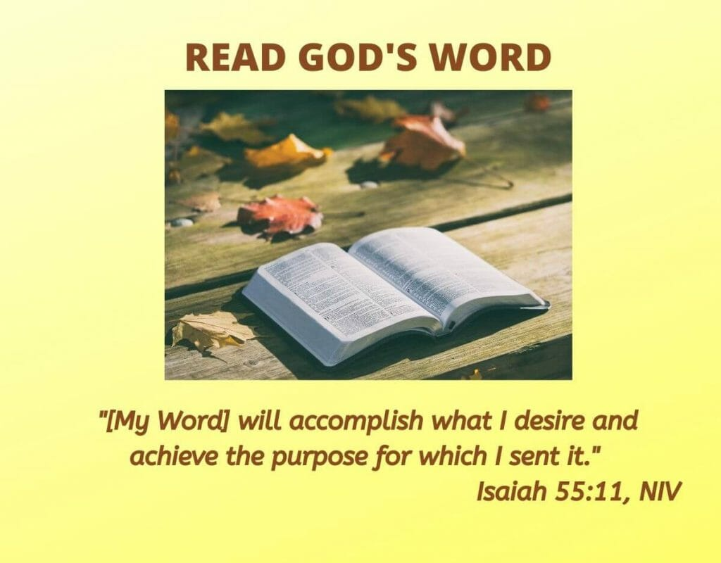 "Read God's Word. ""My word will accomplish what I desire and  achieve the purpose for which I sent it."" - Isaiah 55:11, NIV"