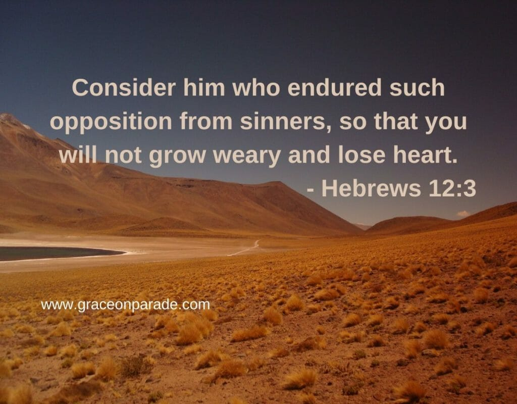 """""""Consider him who endured such opposition from sinners, so that you will not grow weary and lose heart."""" - Hebrews 12:3"""