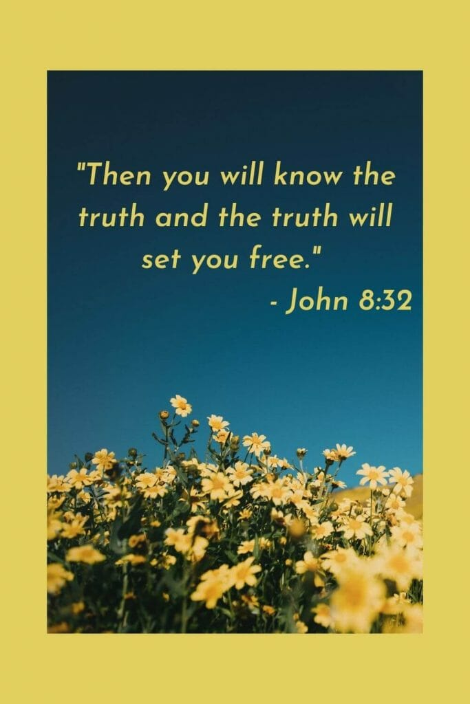 Then you will know the truth and the truth will set you free. - John 8:32